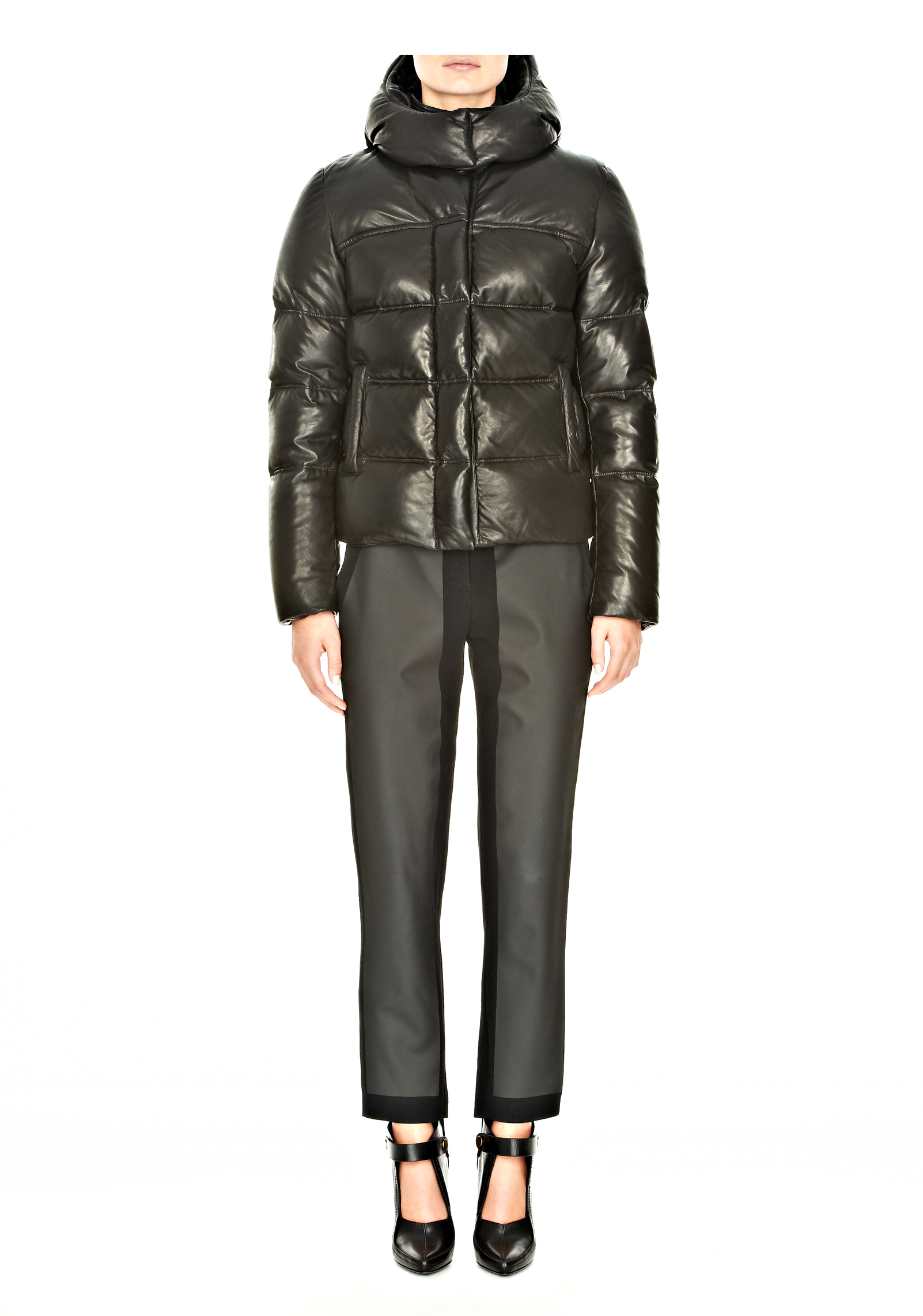 a1bba653a Alexander Wang Black Leather Puffer with Removable Hood