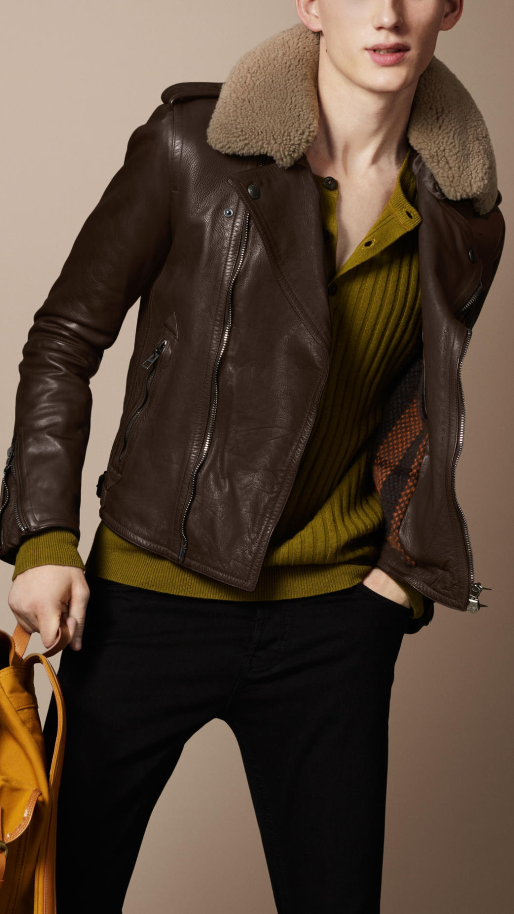Burberry Brit Shearling Collar Biker Jacket In Brown For