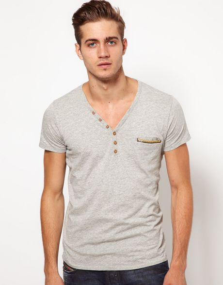 Diesel t shirt with v neck in gray for men grey lyst for Mens diesel v neck t shirts