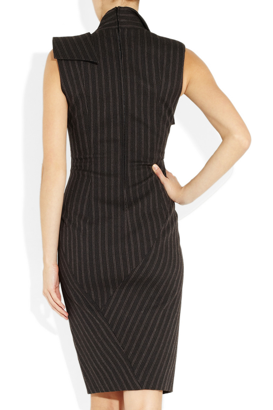 Donna Karan Origami Wool Blend Dress In Anthracite Gray