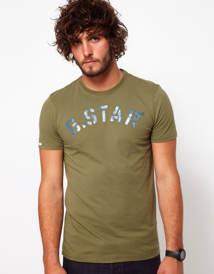 g star raw t shirt with logo in green for men lyst. Black Bedroom Furniture Sets. Home Design Ideas