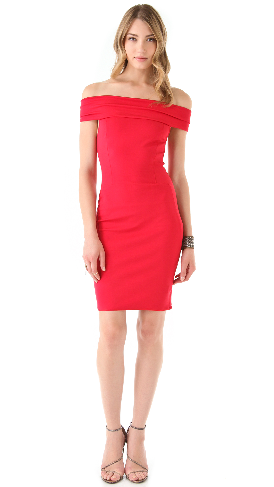 Halston Off The Shoulder Dress in Red | Lyst