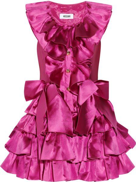 Moschino Ruffled Silkmikado Mini Dress in Pink (fuchsia)