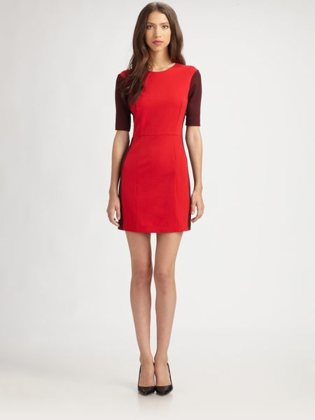 Tibi Ponte Colorblock Dress in Red