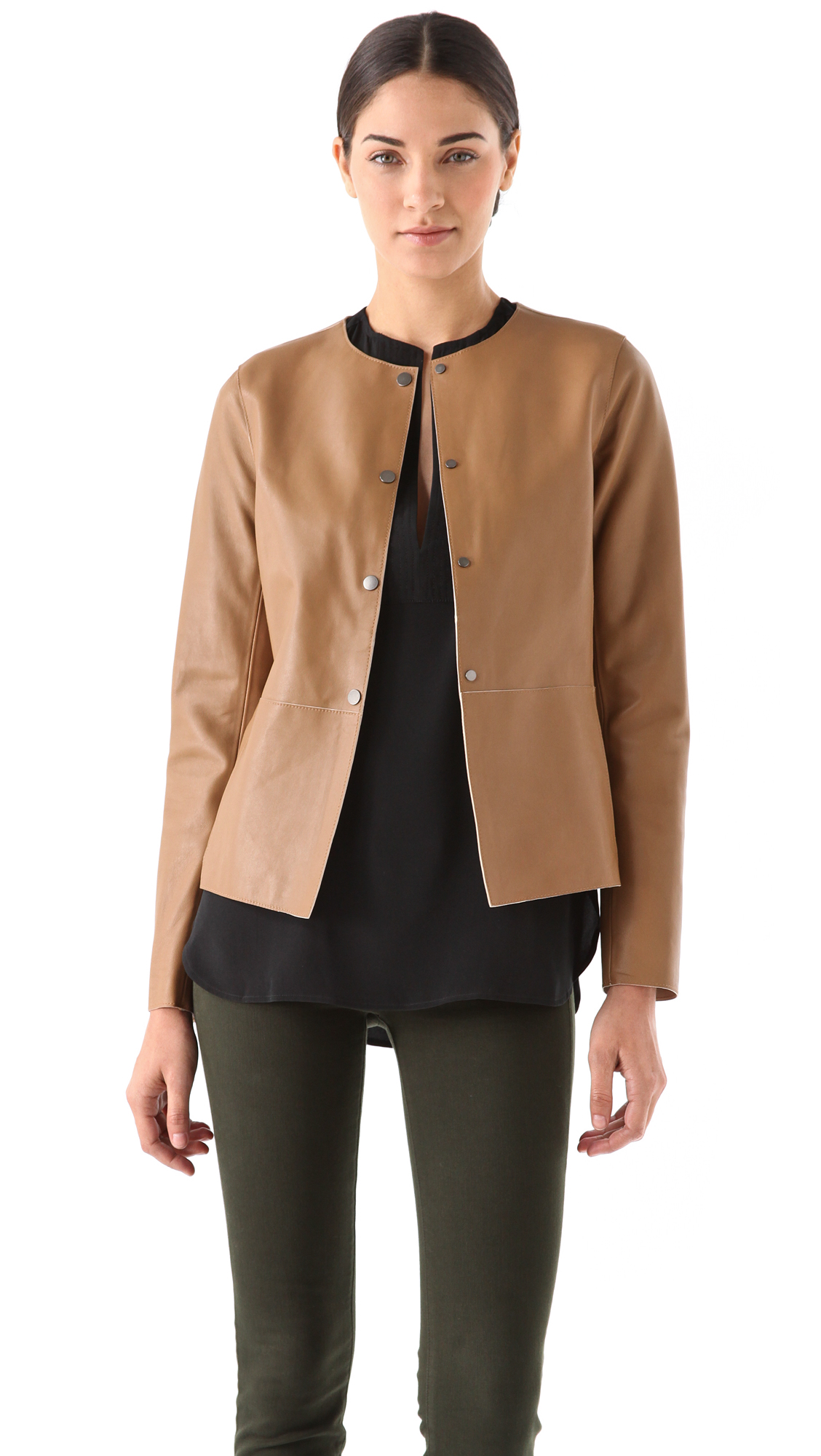 Lyst Vince Snap Front Leather Jacket In Brown