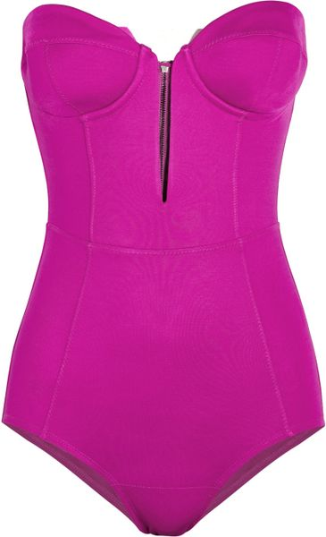 Willow Stretch-jersey Corset Bodysuit in Purple (magenta)