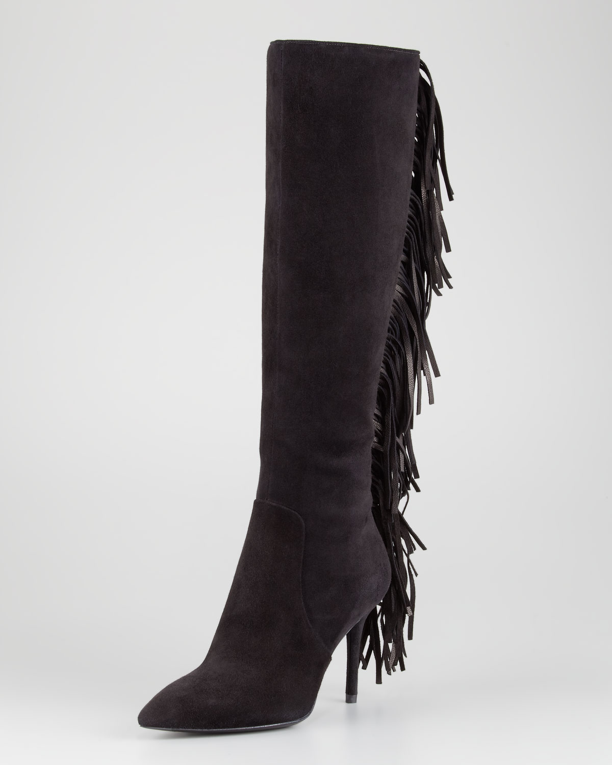 b brian atwood mella backfringe suede boot in black lyst