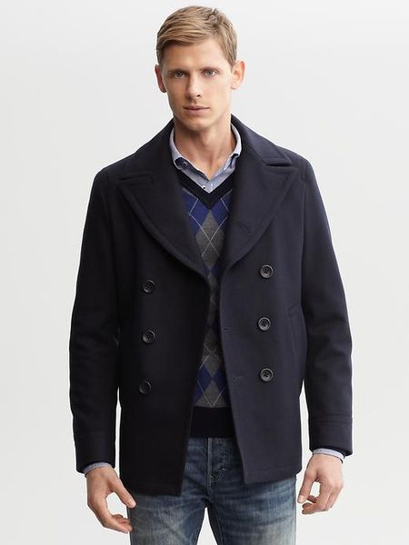Banana Republic Wool Peacoat In Blue For Men Navy Lyst