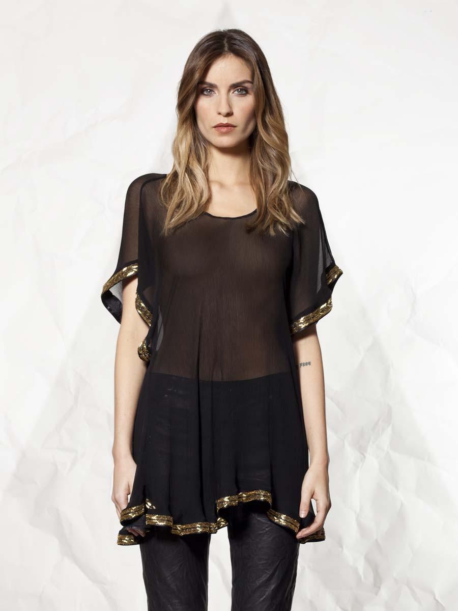 Womens Black Sheer Blouse | Fashion Ql