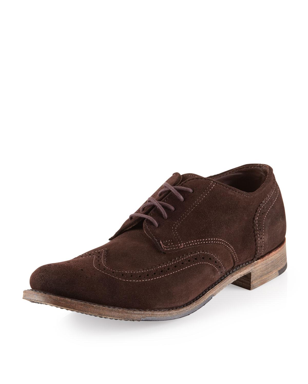 vintage shoe company langdon suede oxford chocolate in