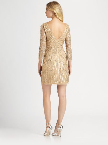Aidan Mattox Beaded Dress In Gold Lyst