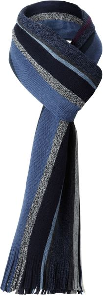 Hugo Boss Farlon Striped Scarf in Blue for Men
