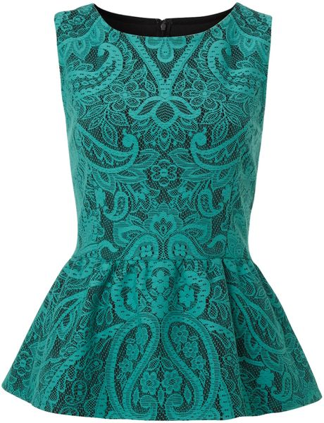 Therapy Bonded Lace Peplum Top in Blue (green)