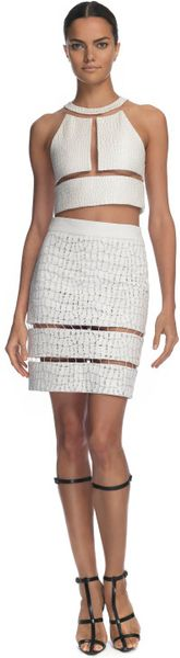 Alexander Wang Reptile Threadwork Halterneck Top in White (glow) - Lyst