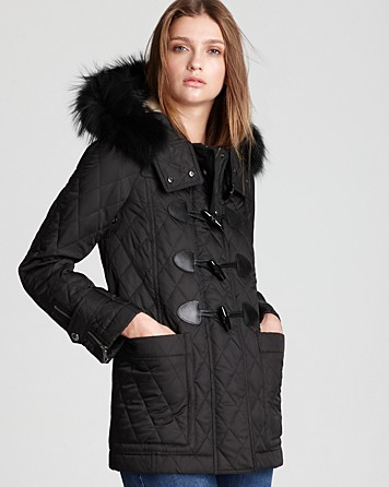 burberry truebridge duffle quilt coat with fur trim in. Black Bedroom Furniture Sets. Home Design Ideas