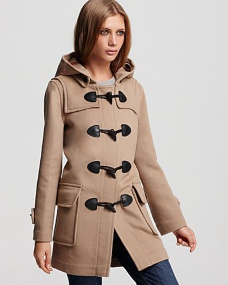 Burberry Hooded Wool Coat With Toggle Closure In Beige