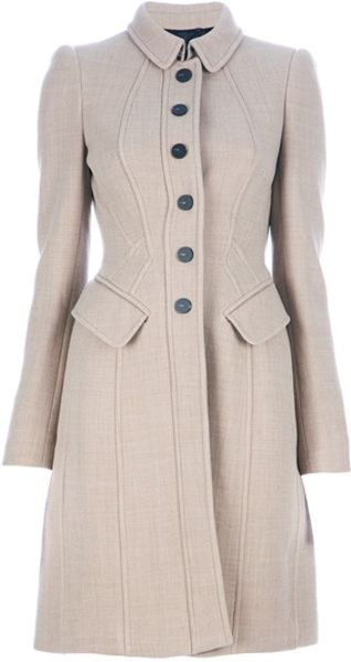 Burberry Prorsum Fitted Coat in Beige (nude)
