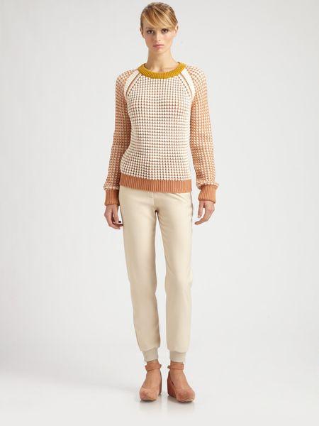 Chloé Wool Waffle Knit Sweater in Beige (white) - Lyst