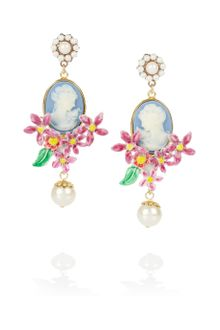 Dolce & Gabbana Gold-Plated Glass Pearl Cameo Clip Earrings - Lyst