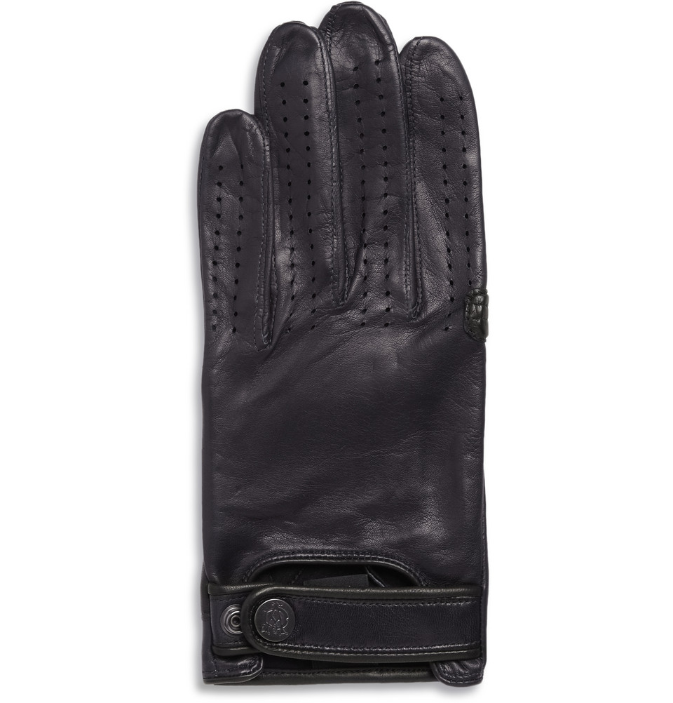 Blue leather driving gloves - Gallery