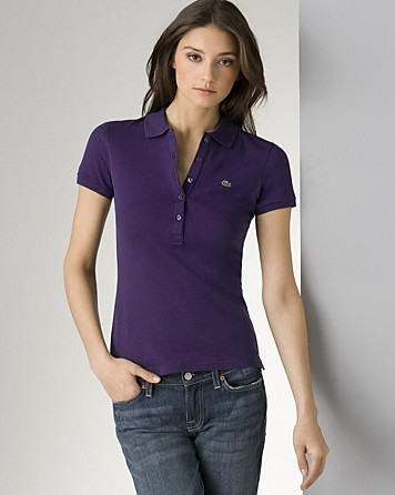 Lyst lacoste five button polo shirt in purple for Womens button up polo shirts