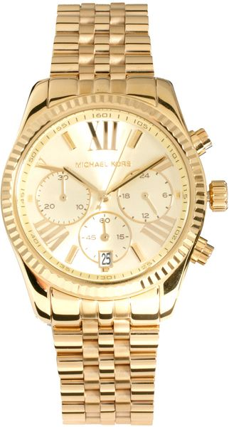 michael kors mini chronograph watch in gold lyst. Black Bedroom Furniture Sets. Home Design Ideas
