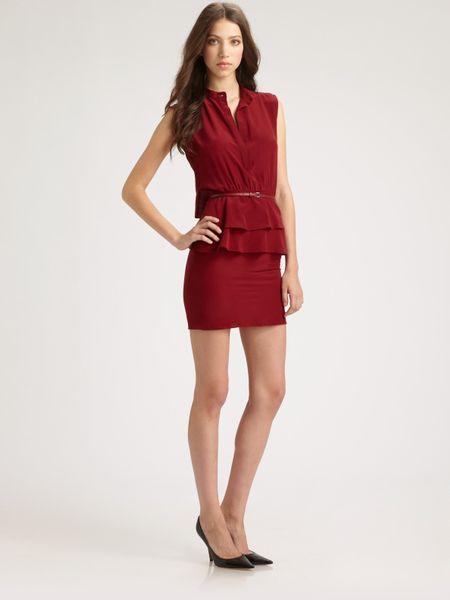 Sachin & Babi Charlotte Peplum Dress in Red (wine)