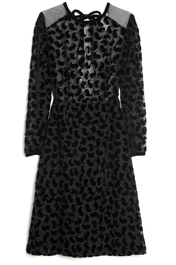 Lyst Sonia By Sonia Rykiel Long Sleeve Devore Dress In Black