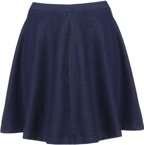 topshop denim skater skirt in blue indigo denim lyst
