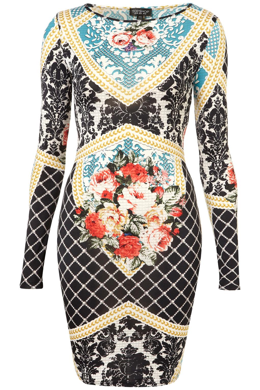 Topshop Baroque Print Bodycon Dress | Lyst
