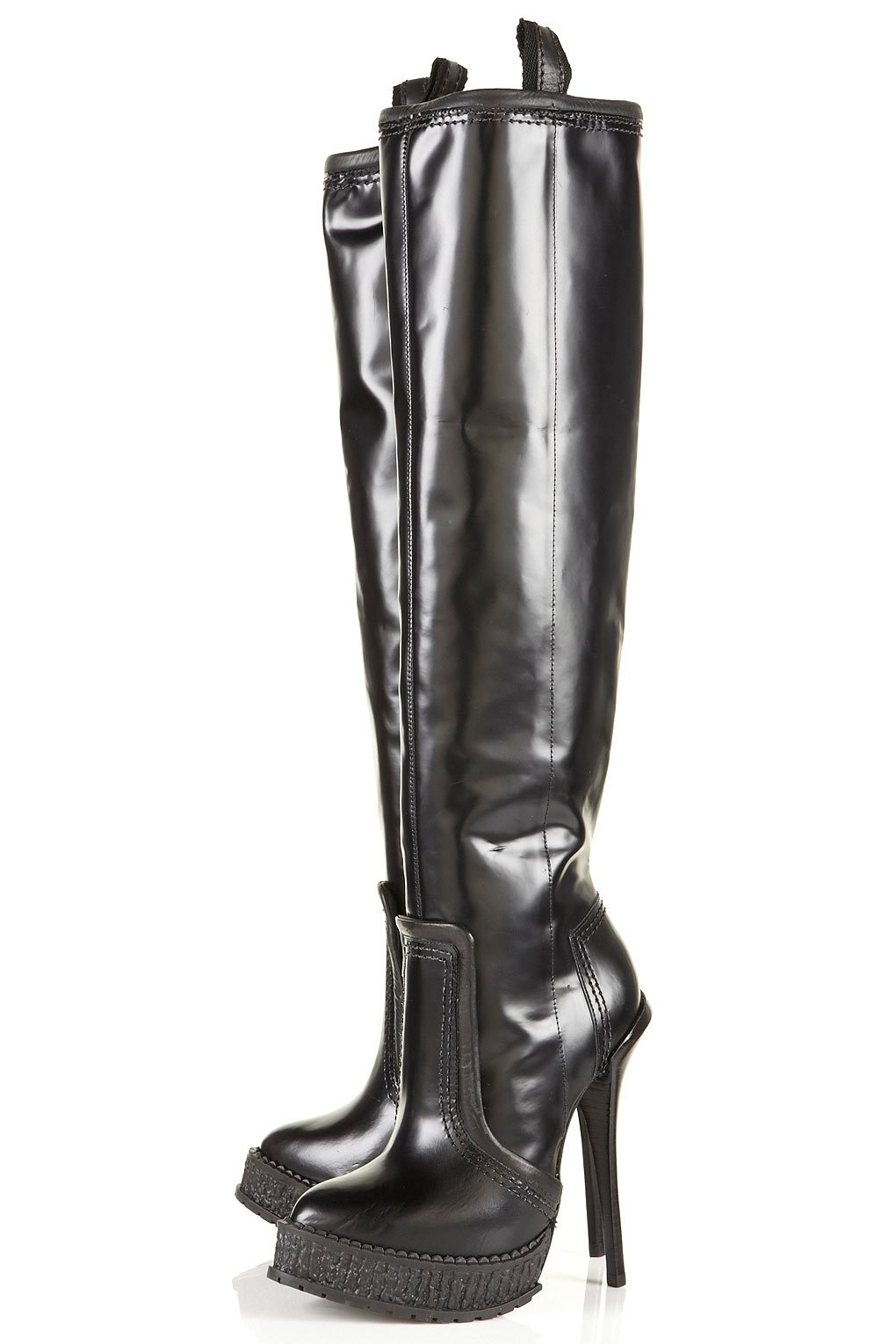 topshop unique pull on knee high boots in black lyst