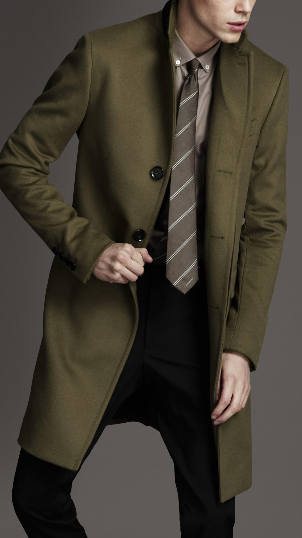 Burberry Long Wool Cashmere Top Coat in Brown for Men | Lyst