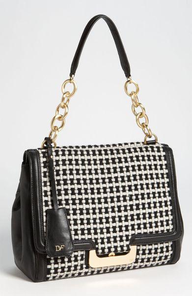 Diane Von Furstenberg New Harper Check Wool Shoulder Bag in Black (black/ white)