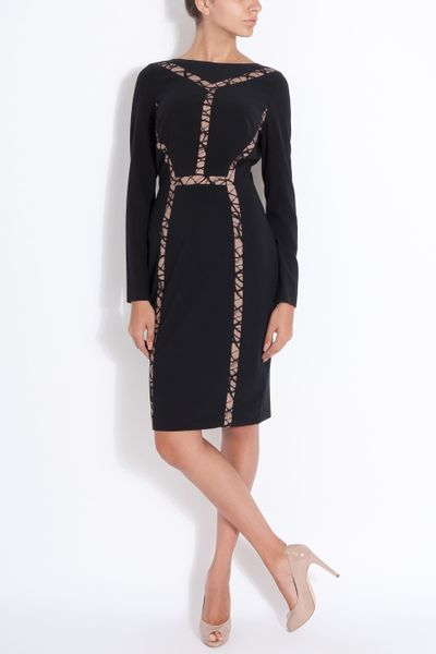 Elie Saab Cut Out Insert Lace Dress In Black Lyst