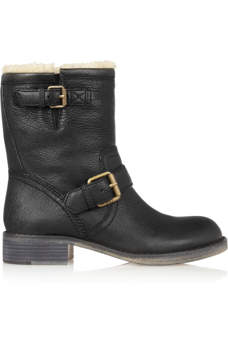 marc by marc shearling lined leather biker boots in