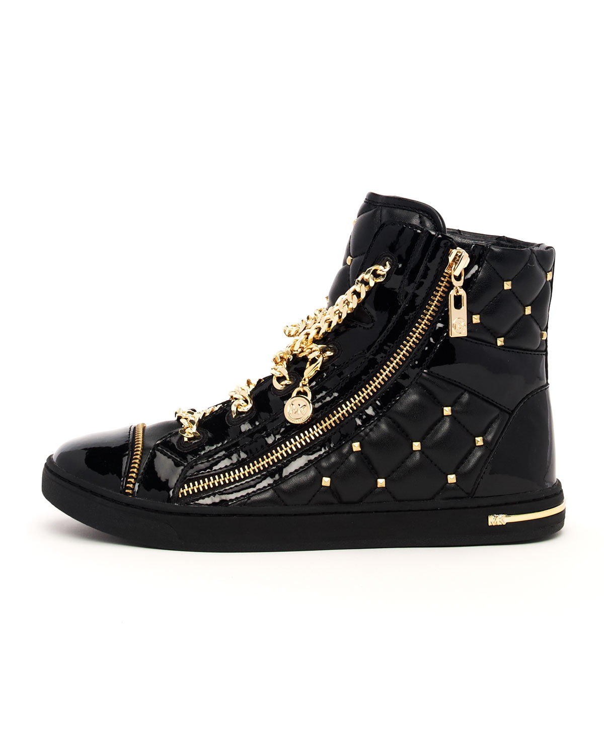 Lyst - Michael Kors Chainlace Quilted Hightop in Metallic