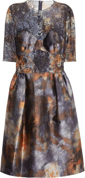 Mulberry Tie Dye Satin and Lace Dress in Multicolor (multicolored)
