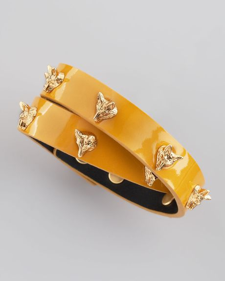 Tory Burch Fox Studded Wrap Bracelet  in Yellow (gold)