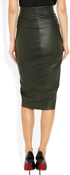 zero cornejo leather pencil skirt in green lyst