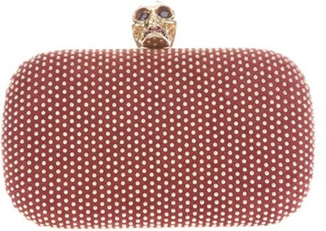 Alexander Mcqueen Studded Skull Box Clutch in Red (burgundy)