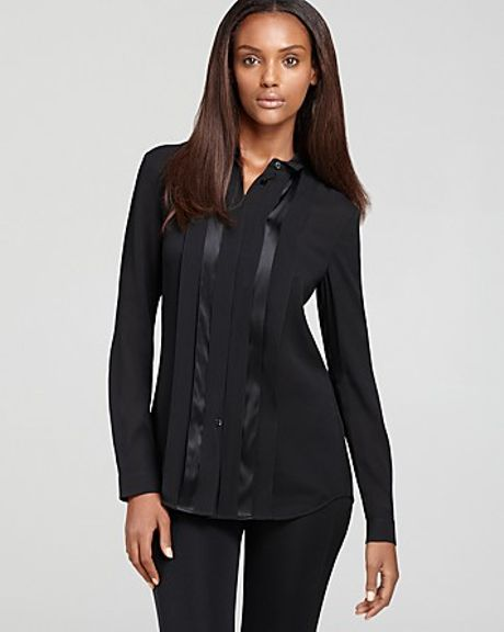 Burberry Silk Stretch Crepe Button Down Shirt In Black Lyst