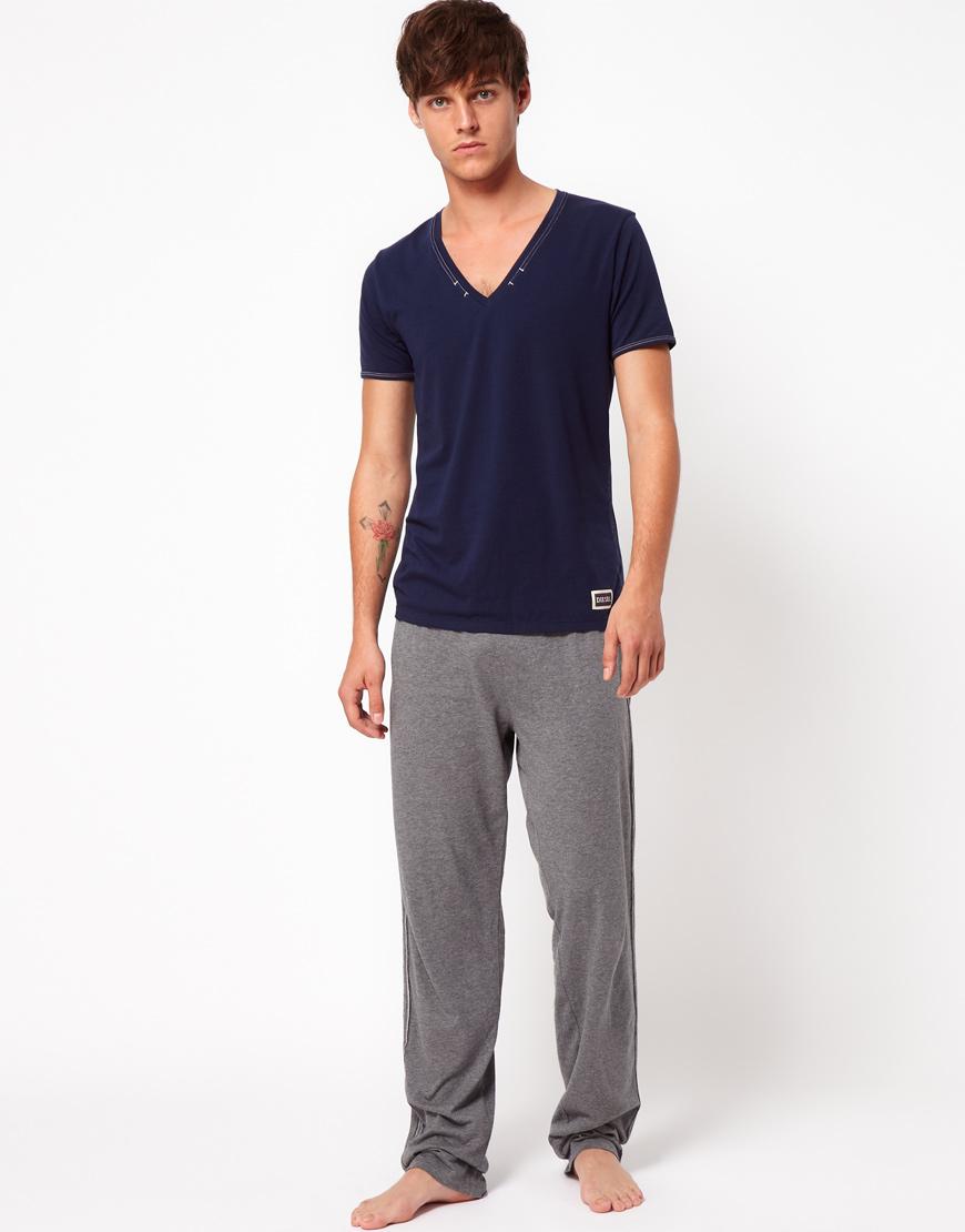 Lyst Diesel Jersey Lounge Pants In Gray For Men