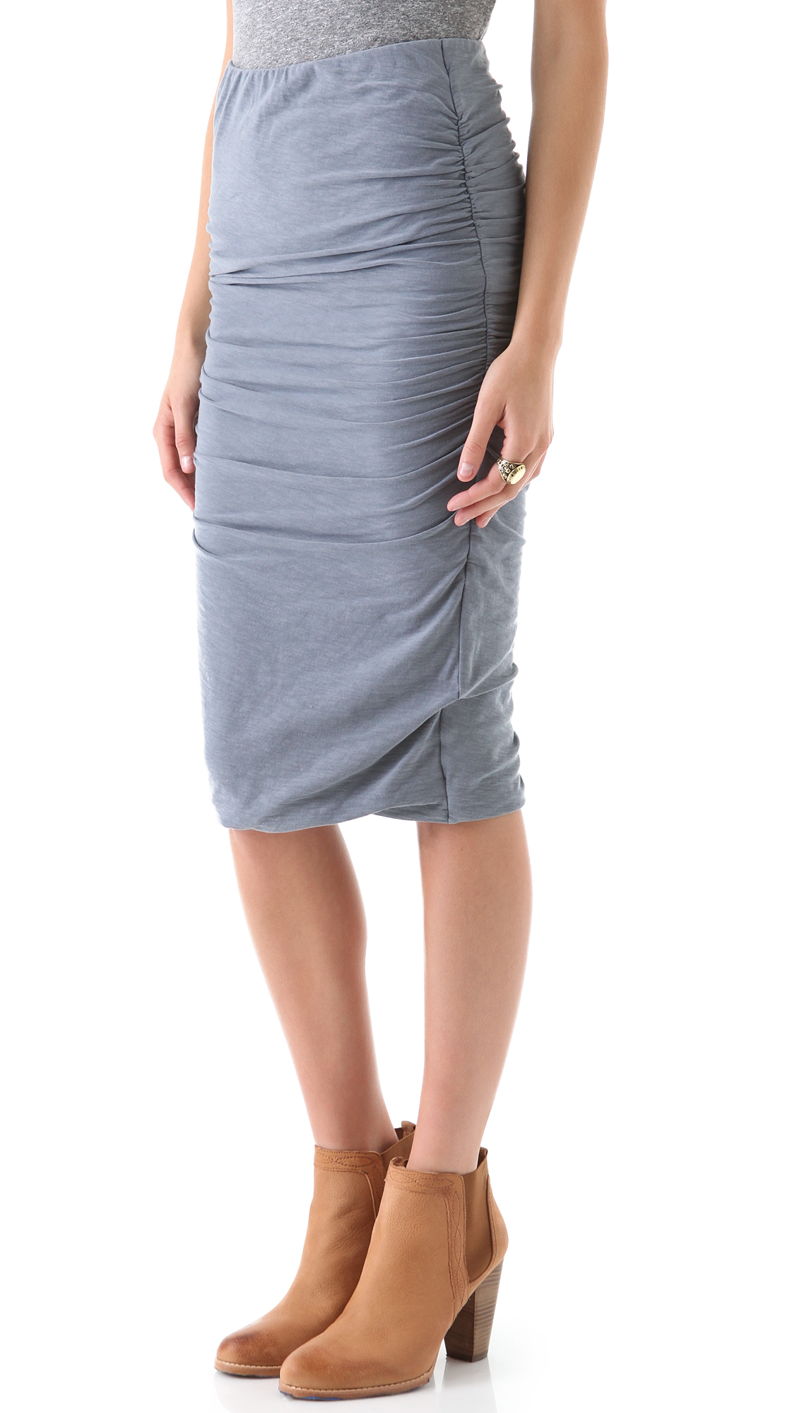 James perse Ruched Pencil Skirt in Gray | Lyst