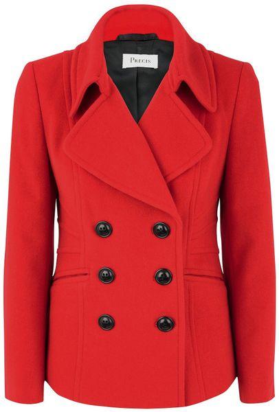 Precis Petite Scarlet Pea Coat In Red Scarlet Lyst