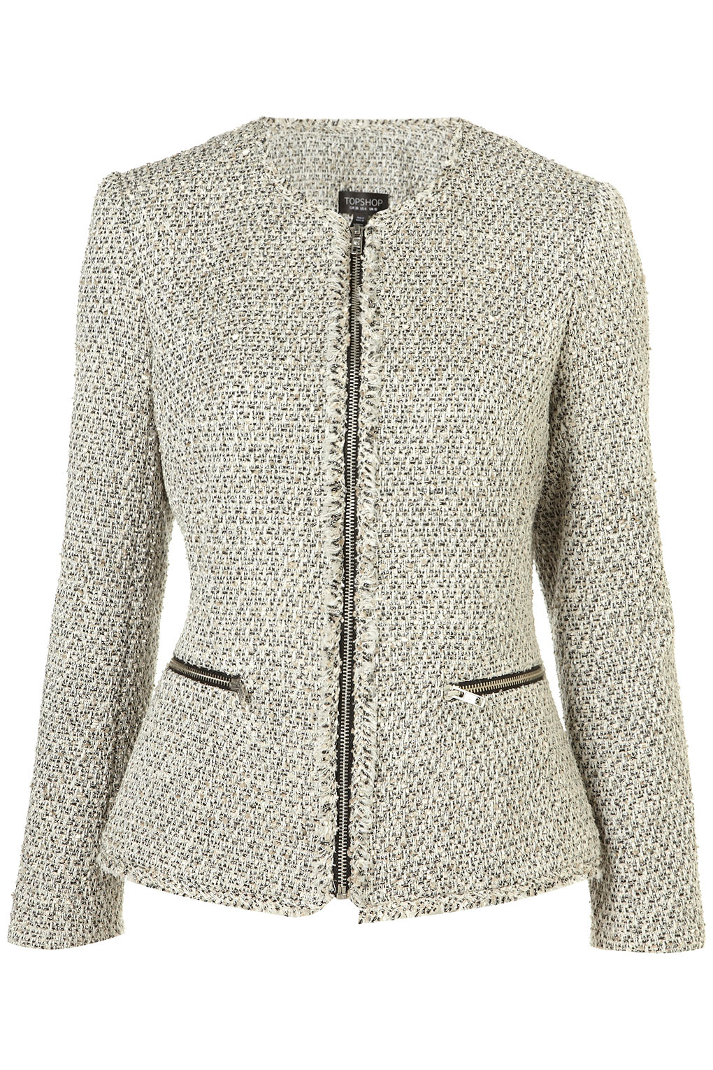 Topshop Raw Edge Zip Boucle Jacket In Gray Lyst