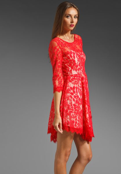 Free People Floral Mesh Lace Dress In Red Hot Red Lyst
