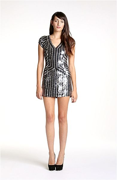 Parker Stripe Sequin Dress in Black (blue/ silver) - Lyst