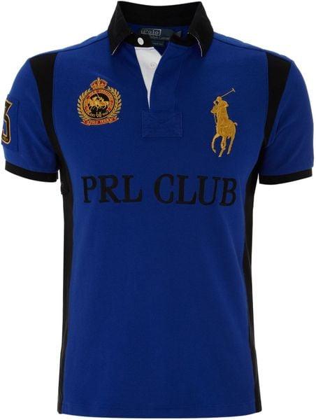 Polo ralph lauren big pony club polo shirt in blue for men for Ralph lauren polo club shirts