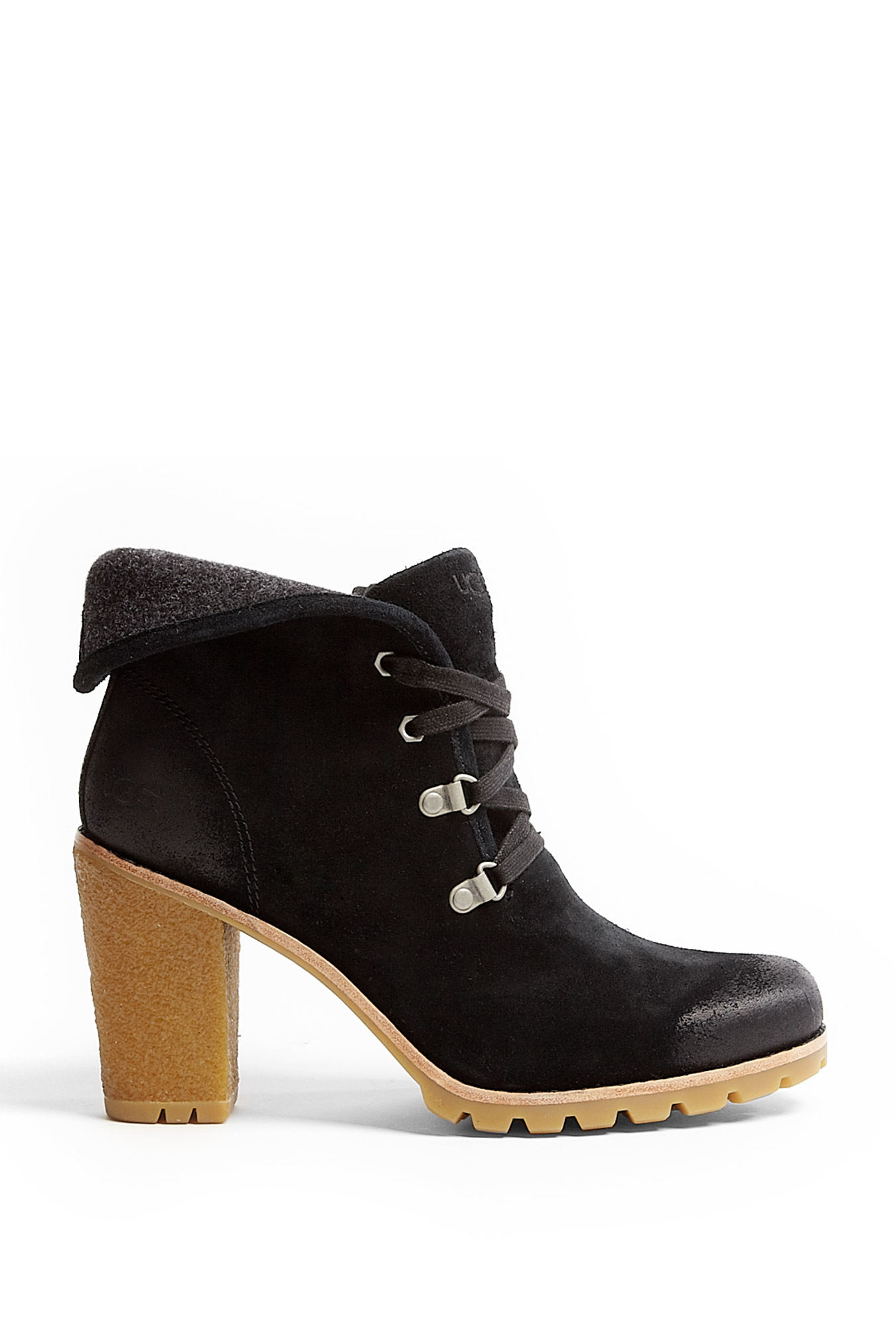 ugg black calynda suede boots in black lyst