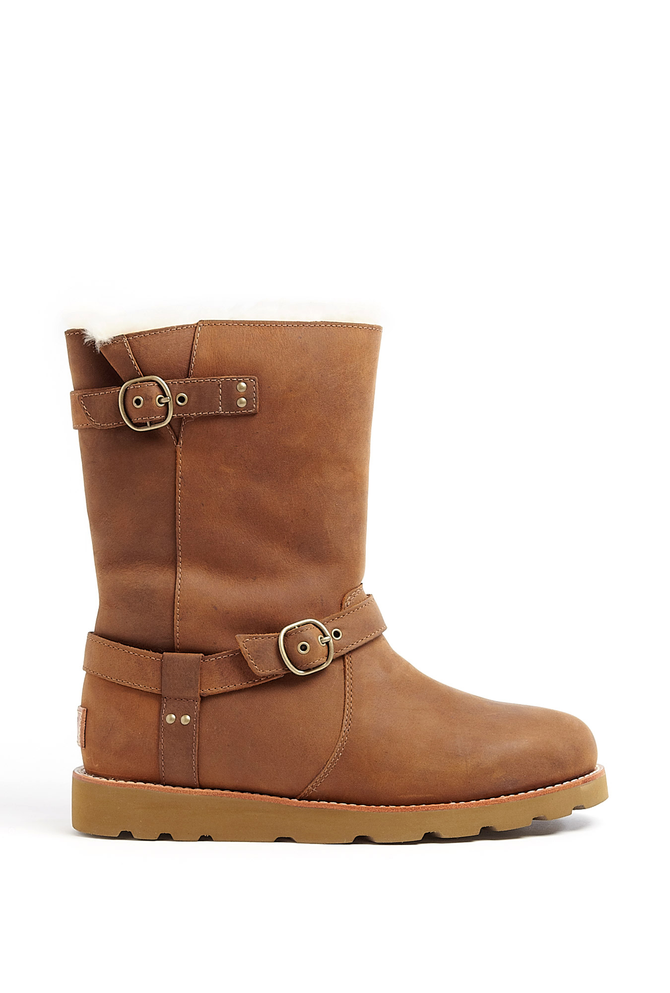 ugg acorn noira buckle boots in brown lyst